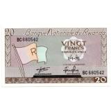 Банкнота 20 франков. 1976 год, Руанда.