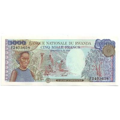 Банкнота 5000 франков. 1988 год, Руанда.