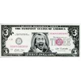Хиллари Клинтон. Сувенирная банкнота 3 доллара. США.