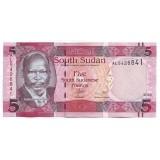 Джон Гаранг де Мабиор. Стадо крупного рогатого скота. Банкнота 5 фунтов. 2015 год, Южный Судан.