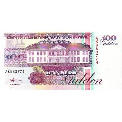 Банкнота 100 гульденов. 1998 год, Суринам.
