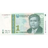 Банкнота 1 сомони. 1999 год, Таджикистан.
