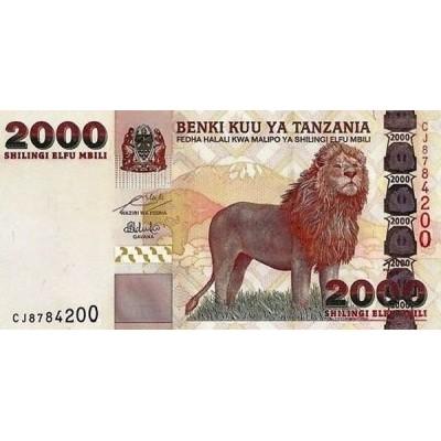 Банкнота 2000 шиллингов, 2009 год Танзания.