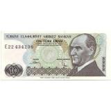 Президент Кемаль Ататюрк. Банкнота 10 лир. 1979 год, Турция.