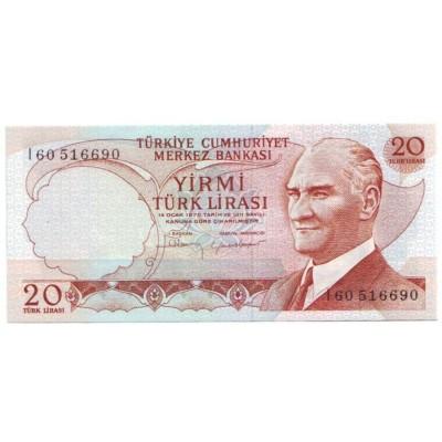 Банкнота 20 лир. 1970 год, Турция.
