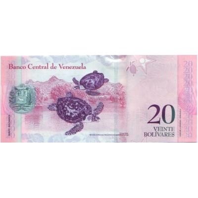 Банкнота 20 боливаров. 2007 год, Венесуэла.