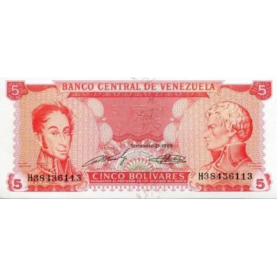 Банкнота 5 боливаров. 1989 год, Венесуэла.