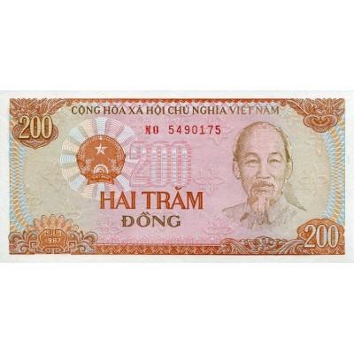 Банкнота 200 донг. 1987 год, Вьетнам.