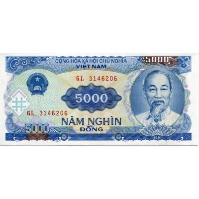 Банкнота 5000 донг. 1991 год, Вьетнам.