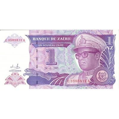 Банкнота 1 зайр. 1993 год, Заир.