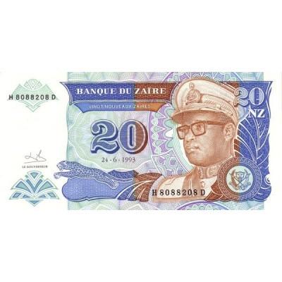 Банкнота 20 зайра. 1993 год, Заир.
