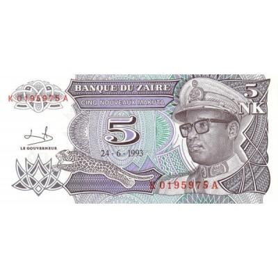 Банкнота 5 макут. 1993 год, Заир.
