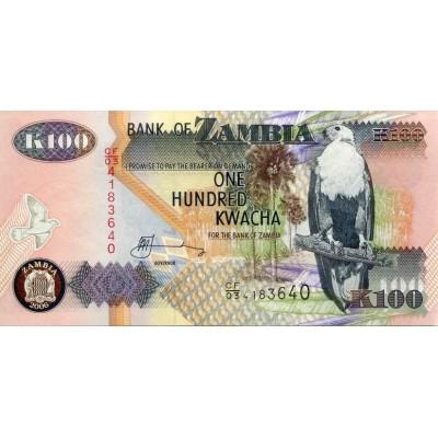 Банкнота 100 квача. 2006 год, Замбия.