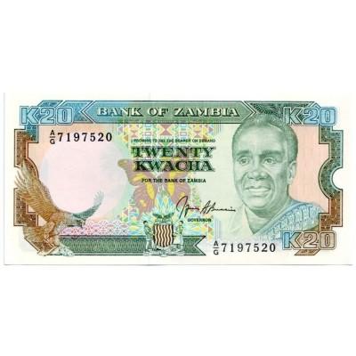Банкнота 20 квача. 1989 - 1991 гг., Замбия.