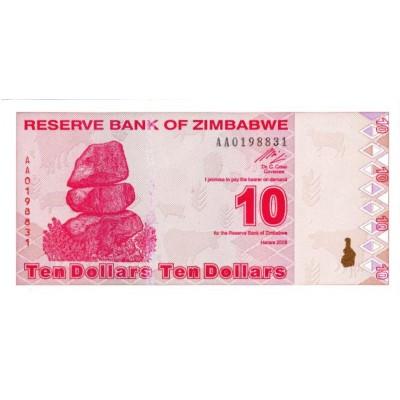 Банкнота 10 долларов. 2009 год, Зимбабве.