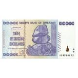 Банкнота 10 миллиардов долларов. 2008 год, Зимбабве.