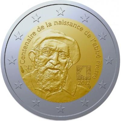 100 лет со дня рождения аббата Пьера. Монета 2 евро, 2012 год, Франция.