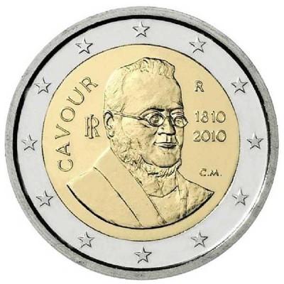 200 лет со дня рождения Камилло Кавура. Монета 2 евро, 2010 год, Италия.
