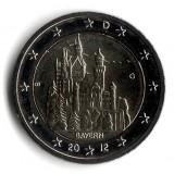 Замок Нойшванштайн в Баварии. Монета 2 евро, 2012 год, Германия.