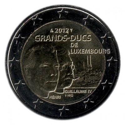 100 лет со дня смерти Великого герцога Люксембургского Вильгельма IV. 2 евро, 2012 год, Люксембург.