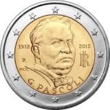 100 лет со дня смерти Джованни Пасколи. Монета 2 евро, 2012 год, Италия.