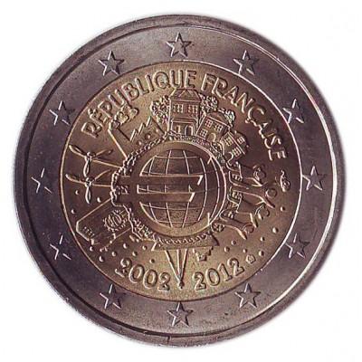10 лет введения наличных евро. Монета 2 евро, 2012 год, Франция.
