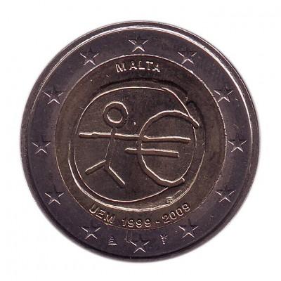 10 лет Экономическому и валютному союзу. Монета 2 евро, 2009 год, Мальта.