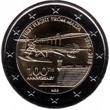 100 лет первому авиаполёту с Мальты. Монета 2 евро. 2015 год, Мальта.