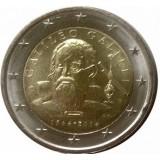 450-летие со дня рождения Галилео Галилея. Монета 2 евро, 2014 год, Италия.