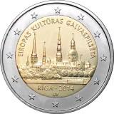 Рига - культурная столица Европы. Монета 2 евро, 2014 год, Латвия.