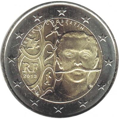 150 лет со дня рождения Пьера де Кубертена. Монета 2 евро, 2013 год, Франция.