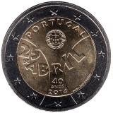 40 лет Революции гвоздик. Монета 2 евро, 2014 год, Португалия.