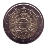 10 лет введения наличных евро. Монета 2 евро, 2012 год, Италия.
