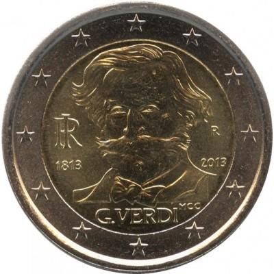 200 лет со дня рождения Джузеппе Верди. Монета 2 евро, 2013 год, Италия.