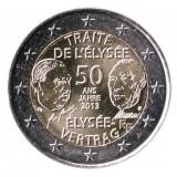 50-летие франко-германского договора о дружбе и сотрудничестве (Елисейский договор). Монета 2 евро, 2013 год, Франция.