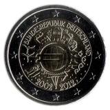10 лет введения наличных евро. Монета 2 евро, 2012 год, Германия.
