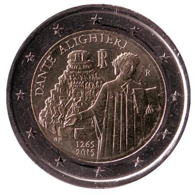 750 лет со дня рождения Данте Алигьери. Монета 2 евро. 2015 год, Италия.