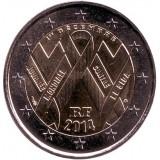 Всемирный день борьбы со СПИДом. Монета 2 евро. 2014 год, Франция.