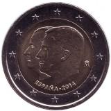 Король Филипп VI. Монета 2 евро. 2014 год, Испания.