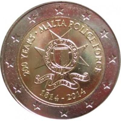 200 лет полиции Мальты. Монета 2 евро, 2014 год, Мальта.