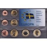 Набор пробных евро  острова Элланд Швеция 2012 года в блистере