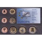 Набор пробных евро  Афон в составе Греции 2009 года в блистере