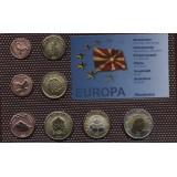Набор пробных евро Македонии 2008 года в блистере