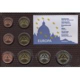 """Набор пробных евро  Ватикана 2005 """"Престол свободен"""" года в блистере"""