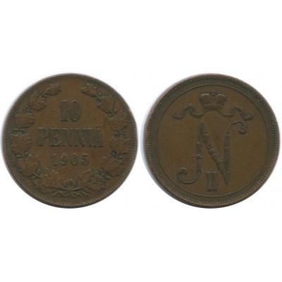 Монета 10 пенни 1905 года  Финляндия в составе Российской Империи
