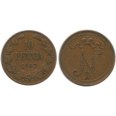 Монета 10 пенни 1907 года  Финляндия в составе Российской Империи