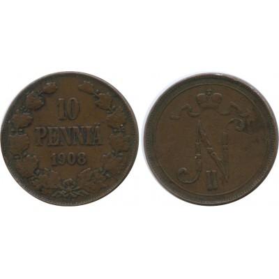 Монета 10 пенни 1908 года  Финляндия в составе Российской Империи