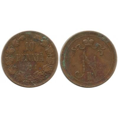Монета 10 пенни 1911 года  Финляндия в составе Российской Империи
