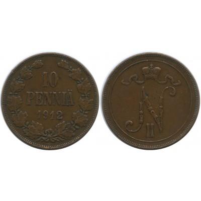 Монета 10 пенни 1912 года  Финляндия в составе Российской Империи