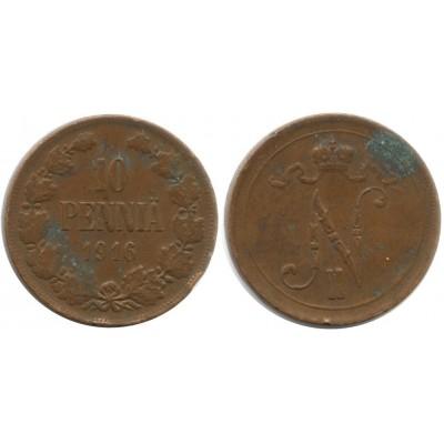 Монета 10 пенни 1916 года  Финляндия в составе Российской Империи